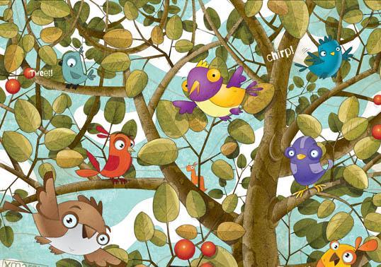 Birds on a Tree warm and lively children's book illustrations - Marcin Poludniak