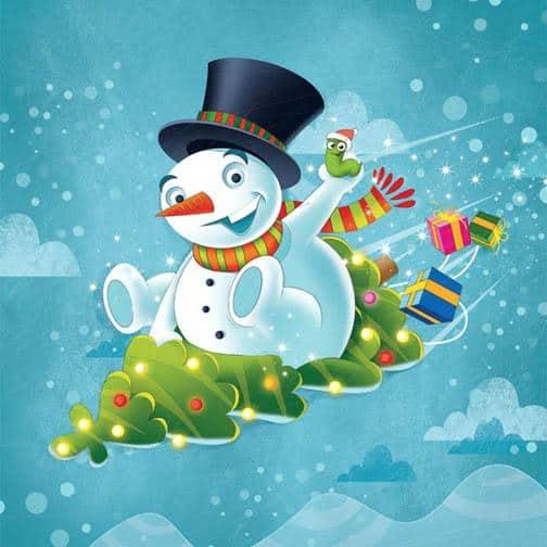 Funny Christmas TRee Sledding snowman illustrations