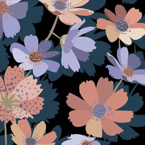 beautiful trendy florals with colors vibrantly popping on a black background, designed for textiles, home decor and more