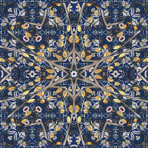 kaleidoscope and abstract design from textile design Monica Kapur.