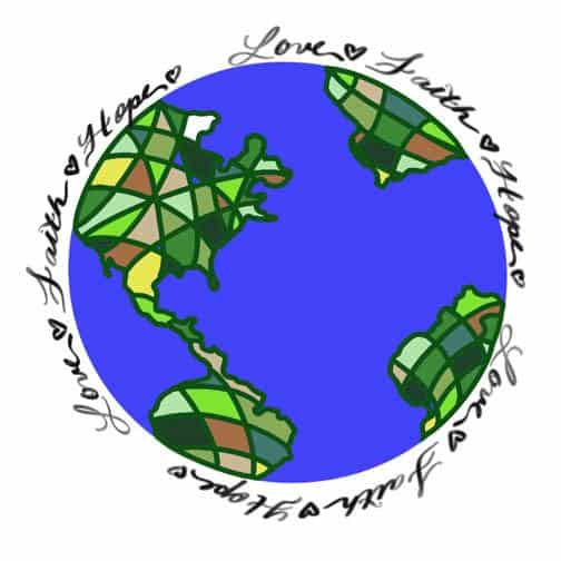 love the world inspired stained glass art design for licensing - Stacy Lokey