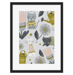 Cat Textile arts from world inspired artist Fineapple Pair